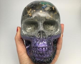 Crystal Skull - Handmade - Orgone Skull - Psychic Abilities - Moldavite - Positive Energy - EMF Protection - Quartz - New Moon Pour