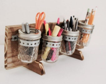 Desk Organizer, Rustic Mason Jar Wall Decor, Hanging Wall Organizer, Mason Jar Organizer, Mason Jar Storage, Mason Jar Caddy