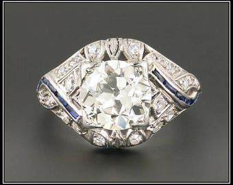 Art Deco Engagement Ring | EGL Certified Diamond Ring | 1.94 CT Diamond & Platinum Ring | Vintage Diamond Ring | Filigree RIng