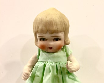 Bisque Doll, Vintage Girl Doll, 7 inch, Hand painted blue eyes, rosy cheeks, rosebud mouth, Made in Japan, circa 1930s