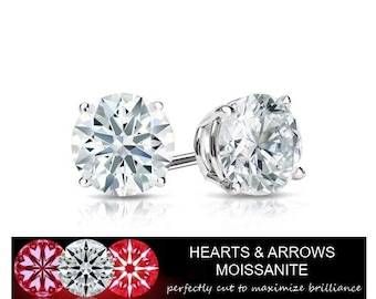 2.00 Carat Moissanite DEF (Color) VVS1 (Clarity) Stud Earrings in 14K Gold (Hearts & Arrows) HD Video Available