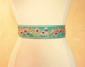 Bright Blue Beaded Bridal Sash