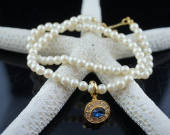 Vintage Jewelry Necklace made of off white faux pearls beads balls circles Chocker Jewelry Pendant gold tone cz blue white x164