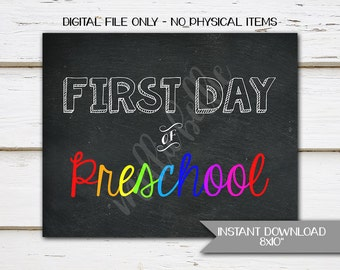 Printable First Day of Preschool Sign, 2017, Instant, Digital, Chalkboard Sign, 1st Day, Photo Prop, Poster, 8x10, Print at home, MB121