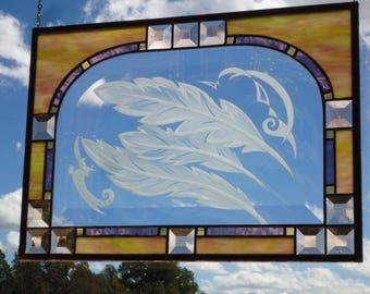 "stained glass window hanging"" LIGHT as A FEATHER"" sandblasted feathers, beveled glass,peach bevels,antique glass, stained glass suncatcher"