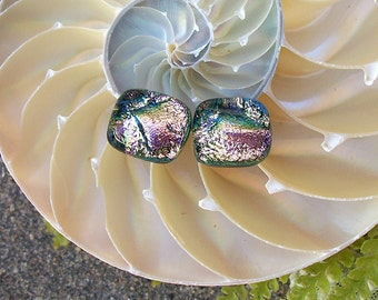 Pink Gold Color Dichroic Glass Stud Earrings