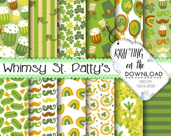 st patricks day paper pack beer digital paper saint patricks day digital papers st patrick's day scrapbooking paper beer digital papers