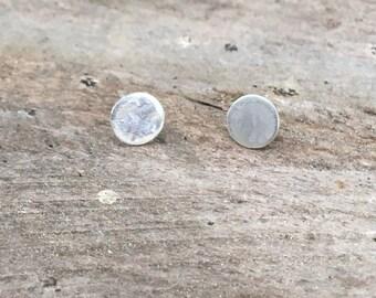 Luna Stud Earrings, Textured Circle Dot Stud Earrings