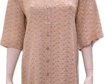 Plus size round neck cut work button down short sleeved tunic Beige 16 18 20 22 24