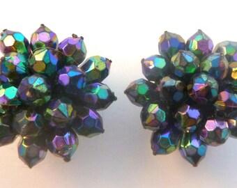 Vintage Faux Carnival Glass,  Cluster Bead Earrings,  Clip On Earrings.