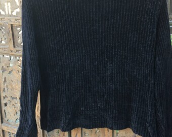 90s Simple Pullover Ribbed Navy Sweater