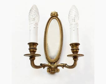 French Vintage Wall Sconce with Mirror and 2 Arms Light