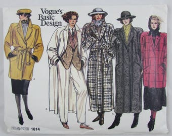 Vintage Vogue  - Woman's Lined Coat or Jacket Pattern 1614- New