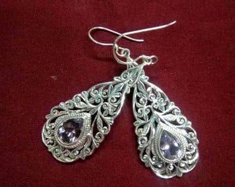 925 Sterling Silver Amethyst  Earrings Handmade in Nepal