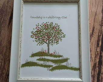 Decorated Frame , Tree image , friendship is a sheltering tree, picture frame, tree, home decor , stamped image, handmade