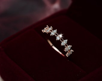 Dual Laced Gold & Crystal Promise Ring/Wedding Band