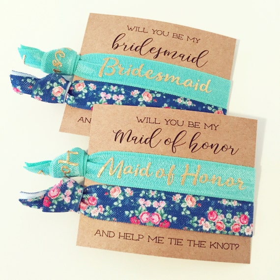 Bridesmaid Proposal Hair Tie Gift | Turquoise Floral Hair Tie Bridesmaid Gift, Blue Green Floral Hair Ties, Bridesmaid Proposal Card + Gift