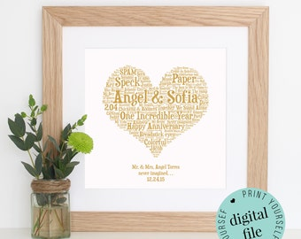 1 Year Anniversary Gifts For Him Uk : 1st anniversary gift word art paper anniversary 1 year anniversary ...