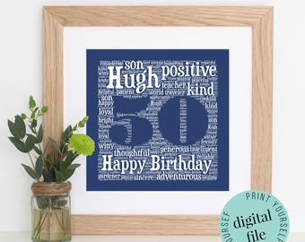 Personalised 50th BIRTHDAY GIFT - Word Art - Printable - Personalised Gifts - Bespoke Gifts - Gift for Men - Gift for Women - Gift for Mum