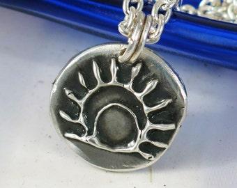 Southwest Petroglyph Sun Fine Silver - Fine Silver Del Sol Pendant Handmade Chunky Unique - Southwest Tribal Del Sol Unique Gift Pendant