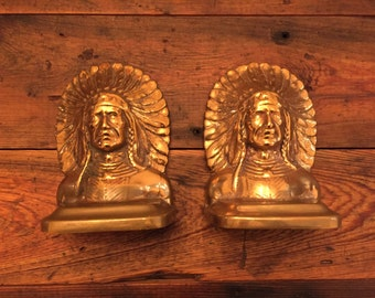 Vintage Indian Bookends Pair of Native American Cast Iron Brass Copper Gold Heavy Doorstop Bookend Library Chief Shiny Americana Early