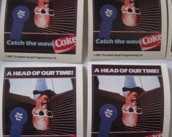 4 Max Headroom Catch the Wave Coke Stickers