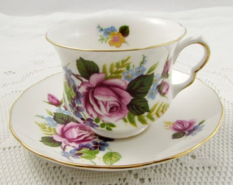 Queen Anne Pink Rose Tea Cup and Saucer, Vintage Bone China