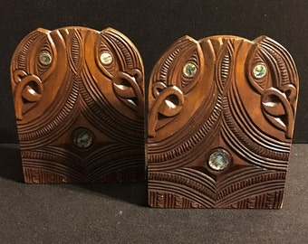 Vintage Craved Wood and Abalone Bookends Maori South Pacific Design