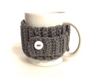 Mug sweater, mug cozy, coffee cup cozy, mug hugger, gray crochet cozy, grey coffee cozy, mug sleeve, mug insulator, mug holder, mug cover