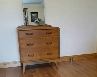 G Plan E Gomme 1950's light oak vanity unit nightstand dressing table chest of drawers tallboy tilt mirror Danish style mid century Brandon
