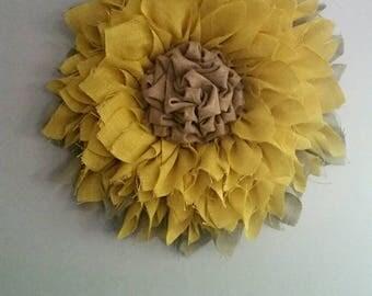 Beautiful, Spring, Summer, Fall, Everyday,  Burlap, Sunflower Wreath