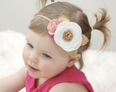 Felt flower headband - white pink gold - flower headband - Strawberry Vanilla Swirl