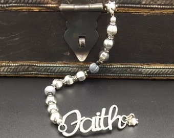 Silver Magnetic Faith Bracelet