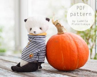 Artists OOAK Teddy Panda pattern, panda bear pattern, teddy pattern, soft toy pattern, miniature panda, 6.7 inches