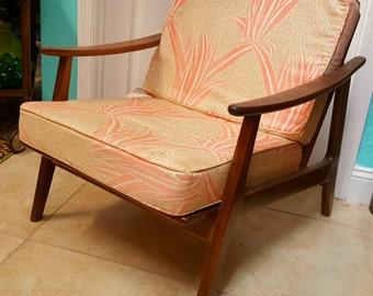 Mid Century Modern Danish Teak Chair Vintage 1950's Palm Beach Chic Upholstery Nice Lines Beautiful!