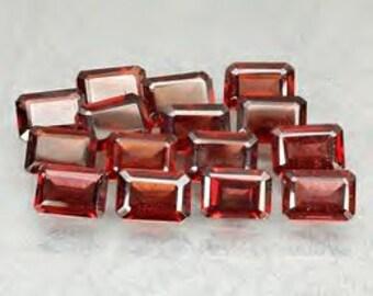 Rhodilite Garnet Emerald Cut 8mm x 5mm 1.3ct each