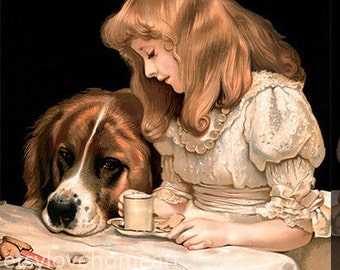 tea for two- Charles Burton Barber hand-painted oil painting reproduction for child room decor or child gift