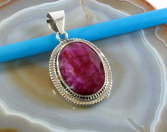 Ruby in 925 sterling silver pendant - Ruby and silver, pendant - 1895