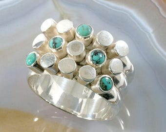 Turquoise and 925 Sterling Silver Ring  --  6263