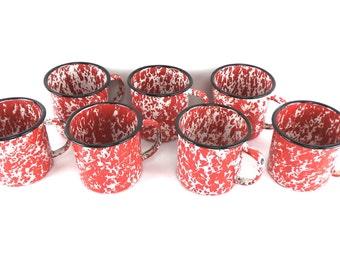 7 Spatterware Mugs, Enamelware, Coffee Cups, Camping Equipment, Vintage Camping, Graniteware