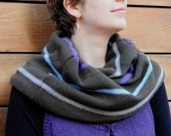 Reversible snood, neck and shoulder warmer, cowl, lambswool, stripes