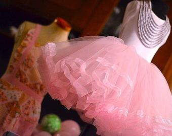 Girls Tutu Skirt. Ribbon edge tutu skirt. Party skirt, tulle skirt lined circle skirt, net skirt, birthday skirt, girls skirt