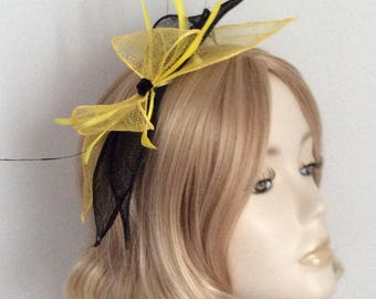 YELLOW and BLACK FASCINATOR, Sinamay petals, coque and biot feathers, sequin detail, on headband
