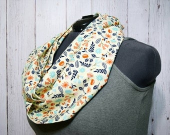 Infinity Scarf -Women's Scarf -Gift For Her -Cream Circle Scarf -Vintage Floral Scarf -Valentines Gift -Spring Scarf -Valentine Day Gift