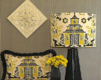 Extra Large Australian Made Lamp Shade Asian Toile Design, 43cm Dia x 30cm High, 2 Fittings, Made to Order 1 - 2 Weeks