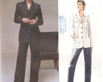 Vogue 2163 Size 8, 10, 12  Women's lined jacket / blazer and lined pants sewing pattern. Pants suit, princess. American designer, Bill Blass