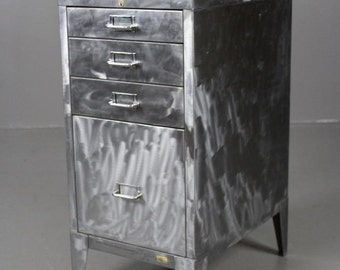Stripped & Polished Steel Filing Drawers