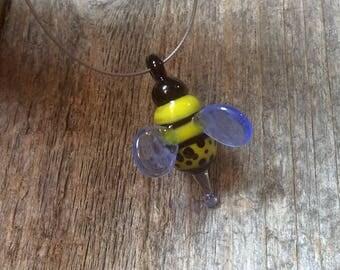 Handmade glass bee, lampwork animal bead