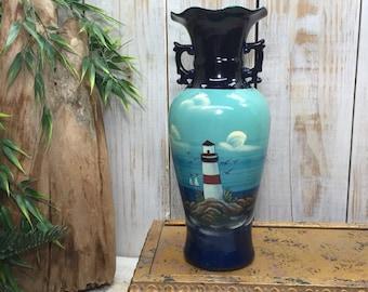 Lighthouse Decor, Flower Vase, Cape Cod Lighthouse Vase, Nautical Theme Decor, beach art beach decor, lighthouse art, Nautical Vase
