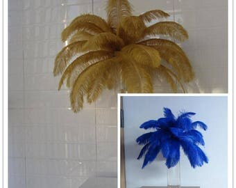 50 pieces 16- 18inch(25blue,25gold) AND 50 pieces 18-20inch(25blue,25gold) ostrich feathers, wedding table centerpiece
